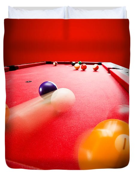 Billards Pool Game Duvet Cover by Michal Bednarek