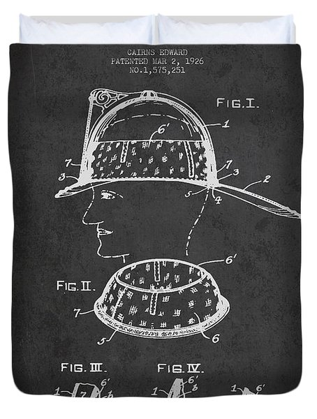 Firefighter Headgear Patent drawing from 1926 Duvet Cover by Aged Pixel