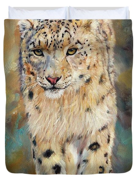 Snow Leopard Duvet Cover by David Stribbling