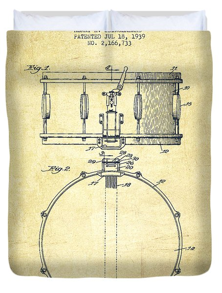 Snare Drum Patent Drawing From 1939 - Vintage Duvet Cover by Aged Pixel