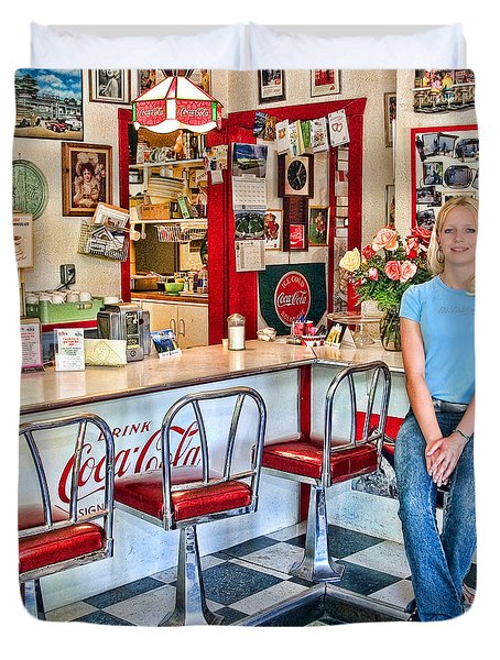 50s American Style Soda Fountain Duvet Cover by David Smith