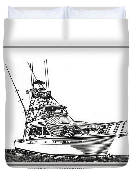 52 foot Hatteras Sportsfisherman Duvet Cover by Jack Pumphrey