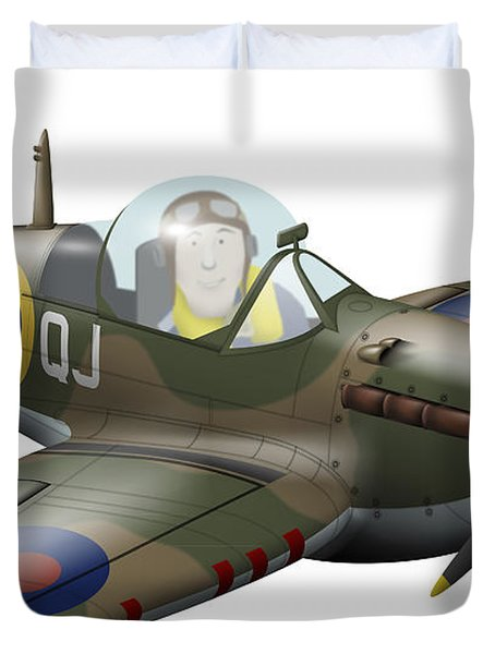 Cartoon Illustration Of A Royal Air Duvet Cover by Inkworm