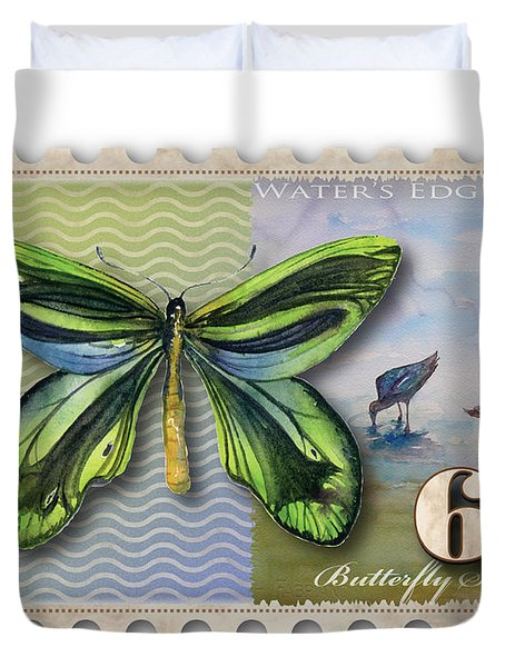 6 Cent Butterfly Stamp Duvet Cover by Amy Kirkpatrick