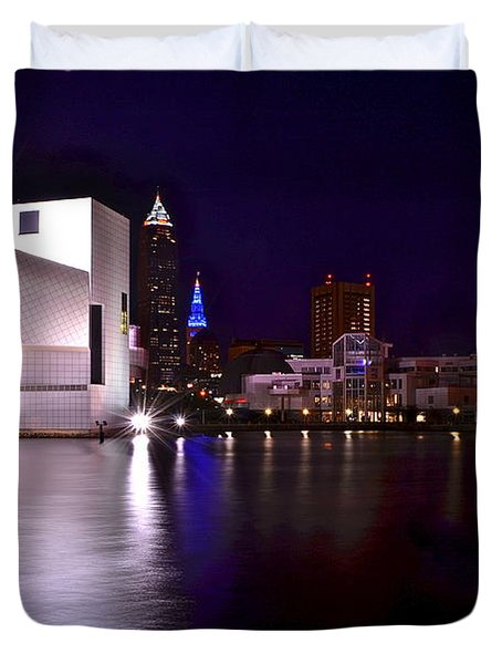 Cleveland Skyline Duvet Cover by Frozen in Time Fine Art Photography