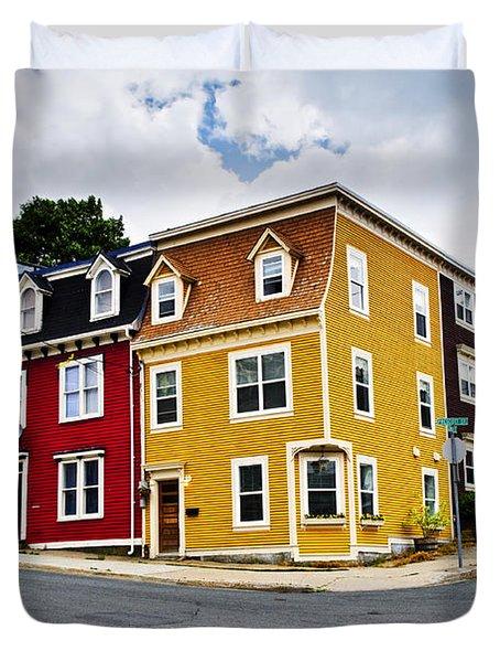 Colorful Houses In St. John's Newfoundland Duvet Cover by Elena Elisseeva