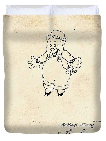 Disney Pig Patent Duvet Cover by Marlene Watson