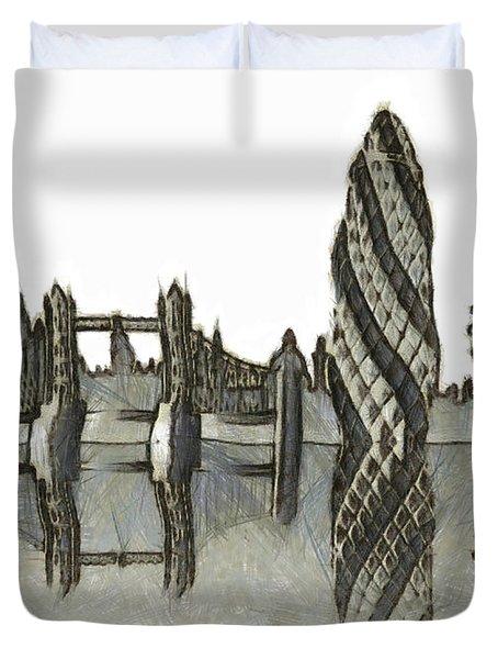 London Skyline Duvet Cover by Michal Boubin