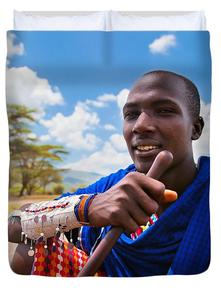 Maasai Man Portrait In Tanzania Duvet Cover by Michal Bednarek