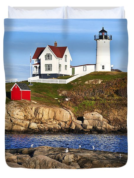 Nubble Lighthouse Duvet Cover by John Greim