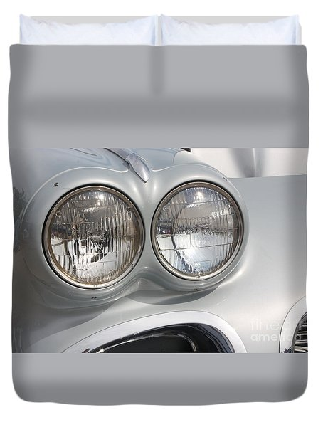 61 Corvette-grey-headlights-9235 Duvet Cover by Gary Gingrich Galleries