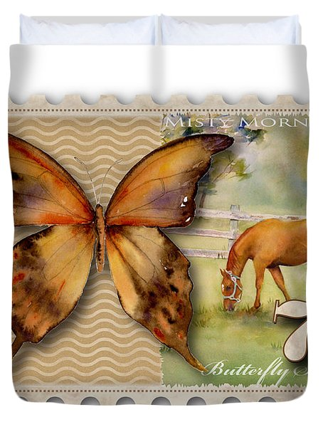 7 Cent Butterfly Stamp Duvet Cover by Amy Kirkpatrick