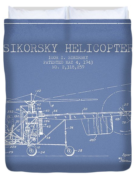 Sikorsky Helicopter Patent Drawing From 1943 Duvet Cover by Aged Pixel