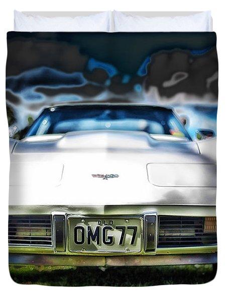 77 Corvette Duvet Cover by Mountain Dreams