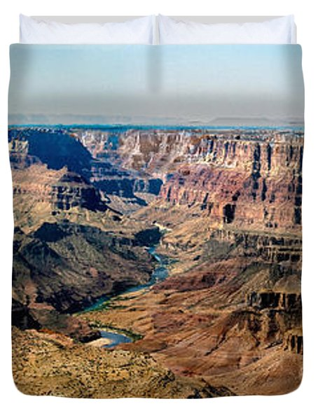 8-image Panorama Grand Canyon Desertview Duvet Cover by Bob and Nadine Johnston