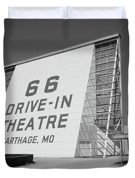 Route 66 - Drive-in Theatre Duvet Cover by Frank Romeo