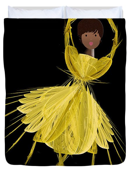 8 Yellow Ballerina Duvet Cover by Andee Design