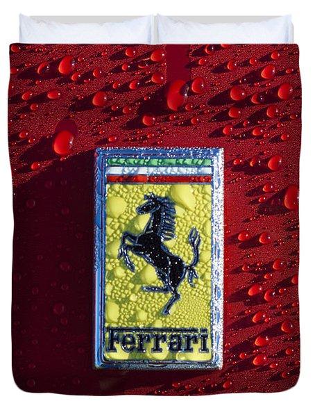 Ferrari Emblem Duvet Cover by Jill Reger