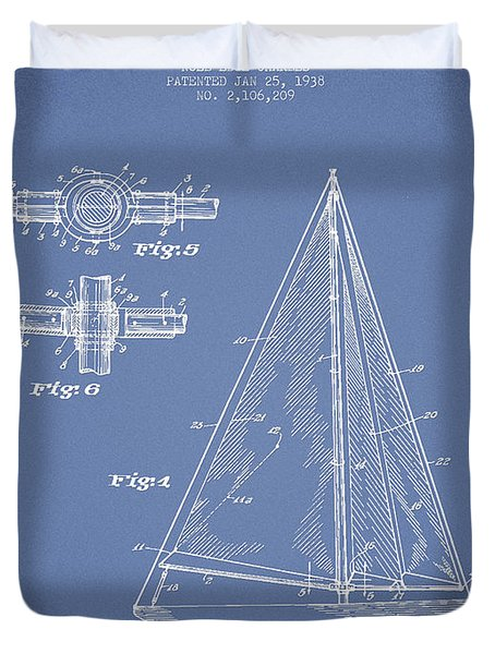 Sailboat Patent Drawing From 1938 Duvet Cover by Aged Pixel
