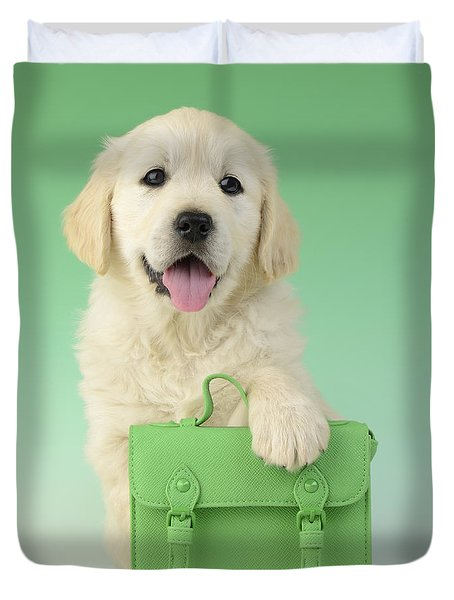 9 To 5 Labrador Duvet Cover by Greg Cuddiford