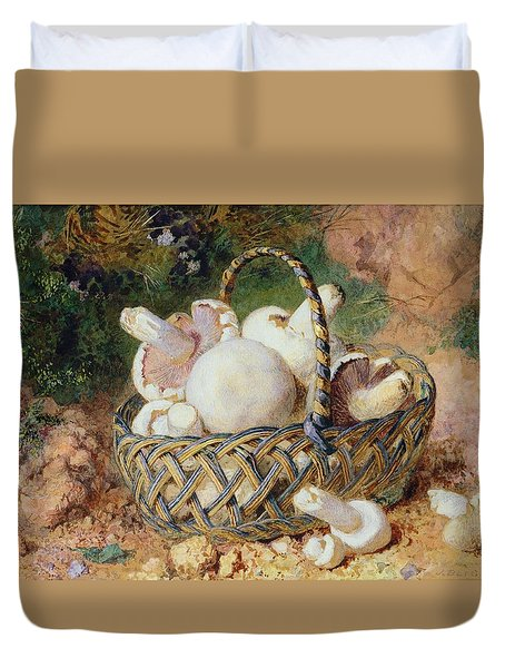 A Basket Of Mushrooms, 1871 Duvet Cover by Jabez Bligh
