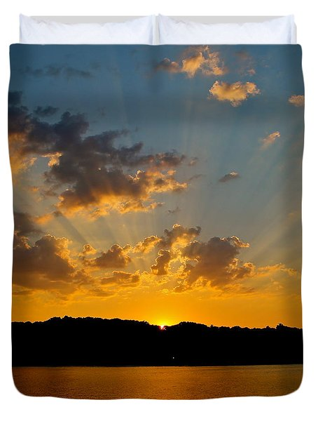 A Bay Sunset Duvet Cover by Justin Connor