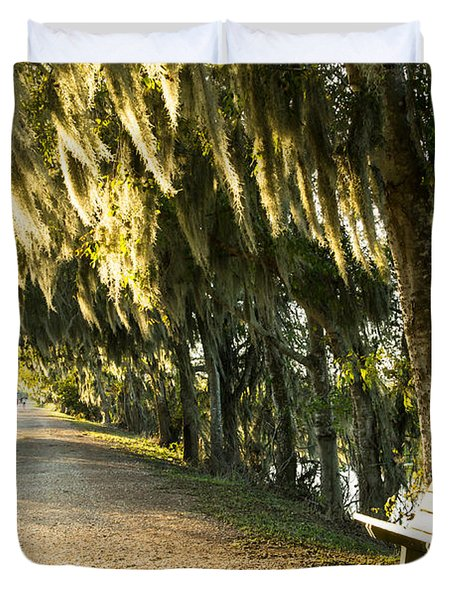 A Bench Under Golden Spanish Moss Duvet Cover by Ellie Teramoto