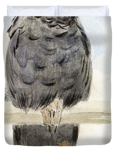 A Black Cockatoo Duvet Cover by Henry Stacey Marks