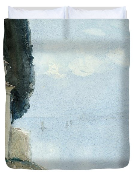A Blue Day On Como Duvet Cover by Joseph Walter West
