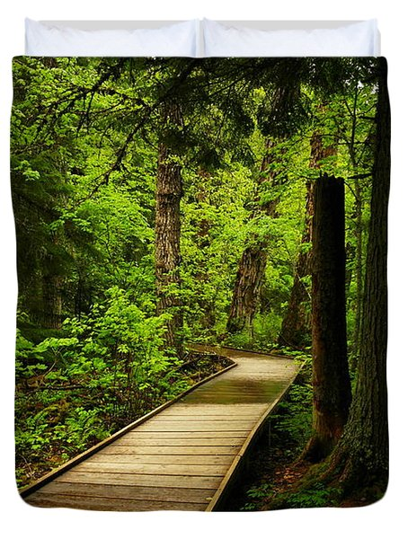 A Boardwalk To Paradise Duvet Cover by Jeff Swan