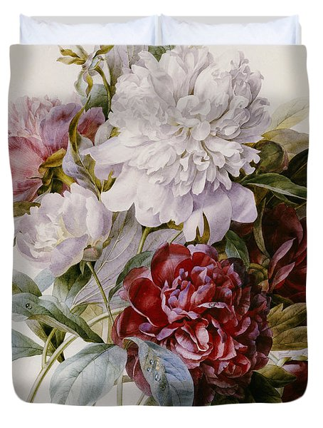 A Bouquet Of Red Pink And White Peonies Duvet Cover by Pierre Joseph Redoute