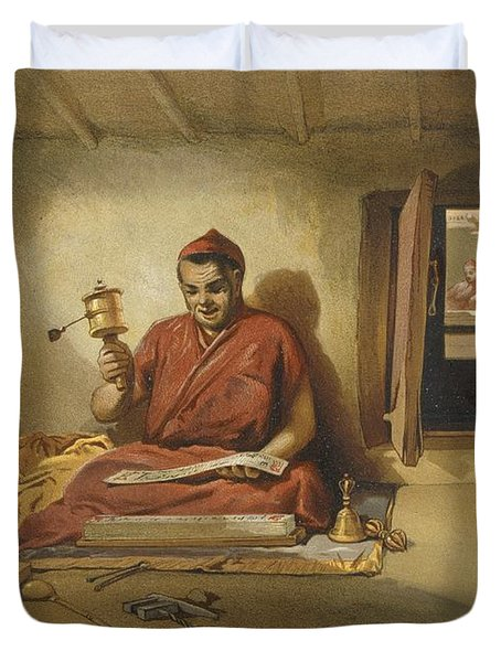 A Buddhist Monk, From India Ancient Duvet Cover by William 'Crimea' Simpson
