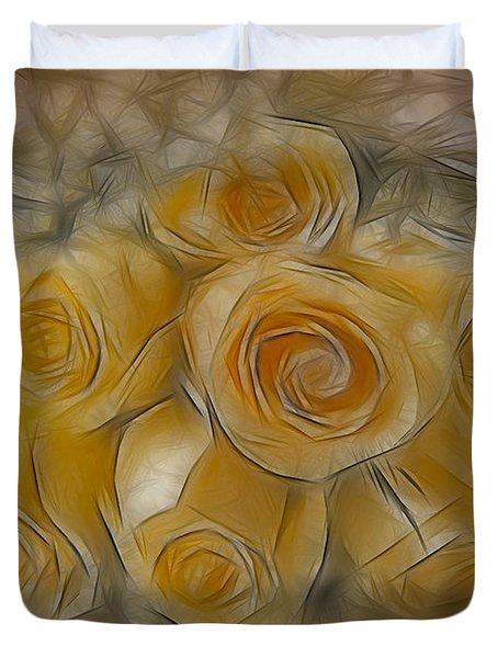 A Bunch Of Yellow Roses Duvet Cover by Susan Candelario