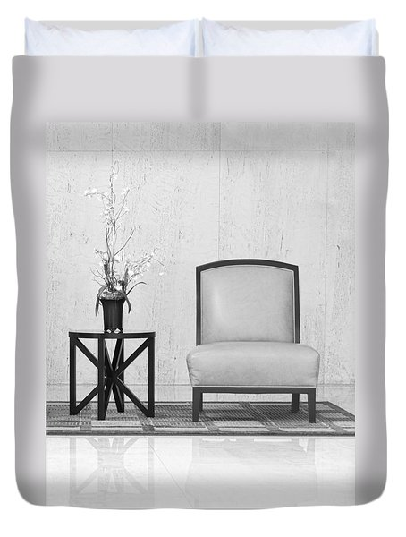 A Chair And A Table With A Plant  Duvet Cover by Rudy Umans