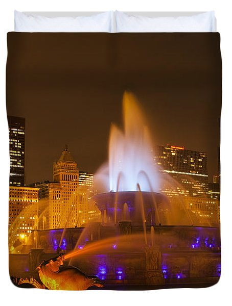 A Chicago Twilight Duvet Cover by Andrew Soundarajan