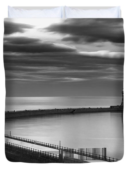 A Curving Pier With A Lighthouse At The Duvet Cover by John Short