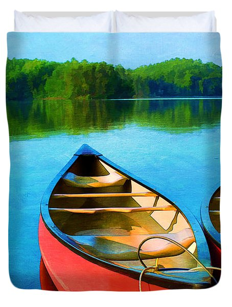 A Day on the Lake Duvet Cover by Darren Fisher