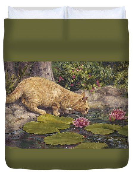 A Drink At The Pond Duvet Cover by Lucie Bilodeau