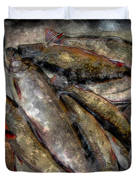 A Fine Catch Of Trout - Steel Engraving Duvet Cover by Barbara Griffin