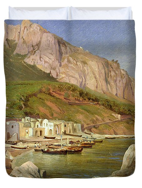 A Fishing Village At Capri Duvet Cover by Louis Gurlitt