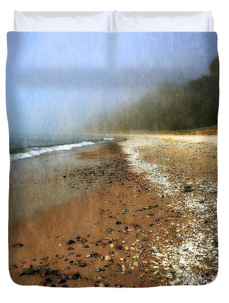 A Foggy Day At Pier Cove Beach 2.0 Duvet Cover by Michelle Calkins