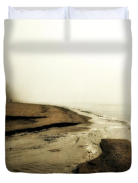 A Foggy Day at Pier Cove Beach Duvet Cover by Michelle Calkins