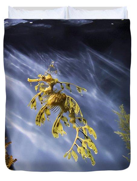 A Funny Seahorse--leafy Seadragon Duvet Cover by Angela A Stanton