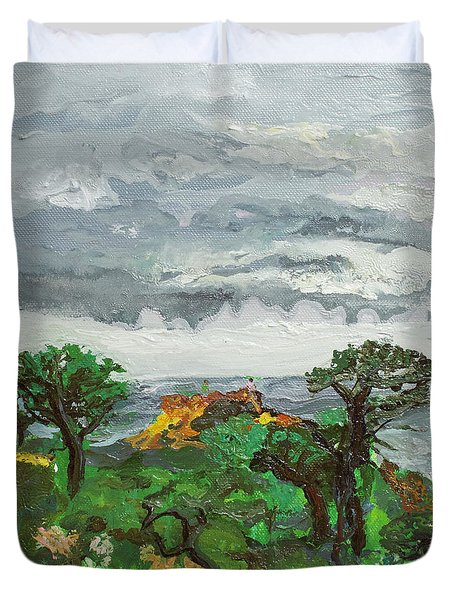 A Gathering Before Red Butte Duvet Cover by Joseph Demaree