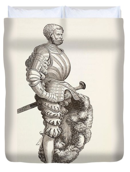 A German Knight, From Military And Religious Life In The Middle Ages By Paul Lacroix Duvet Cover by French School