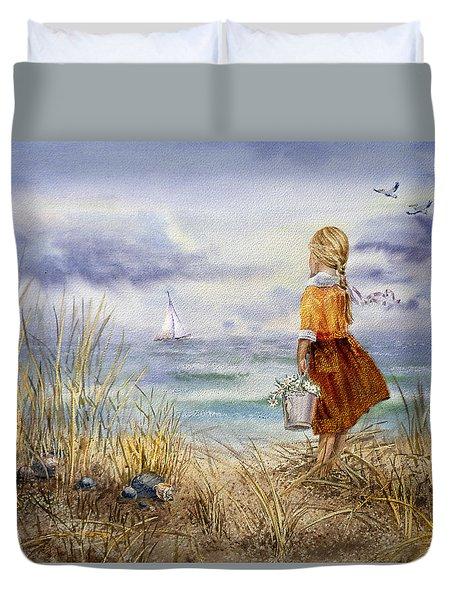 A Girl And The Ocean Duvet Cover by Irina Sztukowski