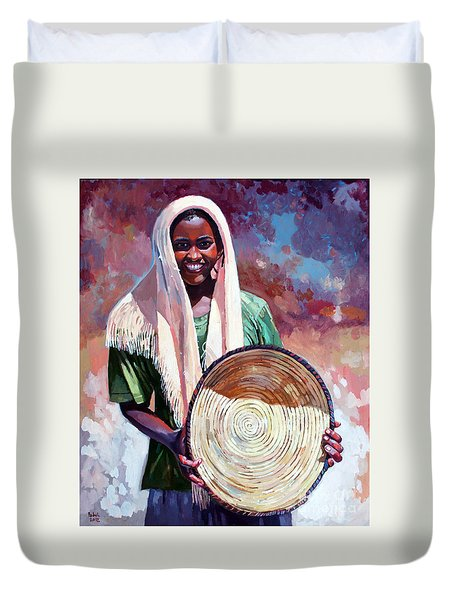 A Girl From The Countryside Duvet Cover by Mohamed Fadul