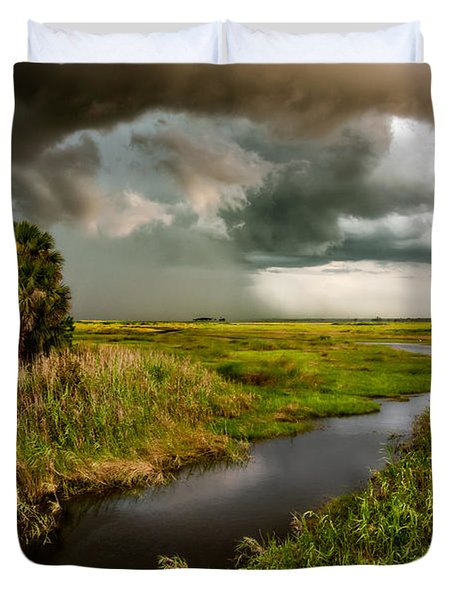 A Glow On The Marsh Duvet Cover by Christopher Holmes