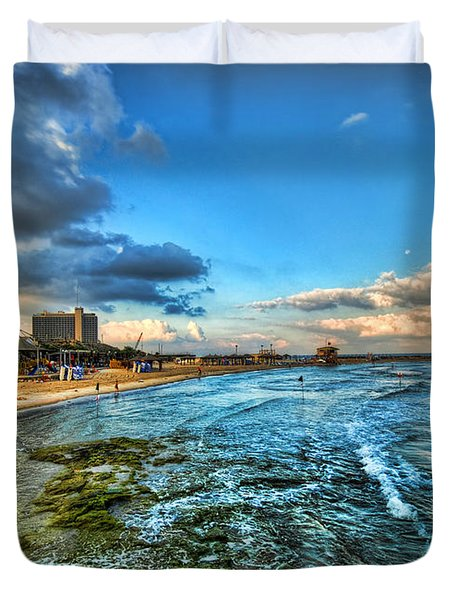 a good morning from Hilton's beach Duvet Cover by Ron Shoshani