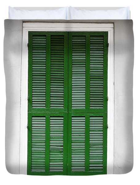 A green door in New Orleans Duvet Cover by Christine Till